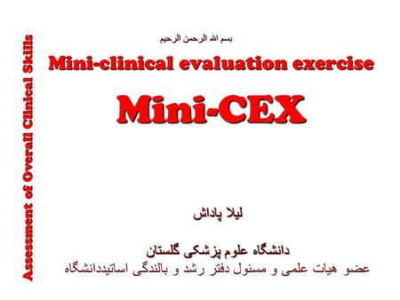 Mini-CEX Mini-clinical evaluation exercise لیلا پاداش