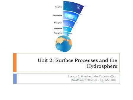 Unit 2: Surface Processes and the Hydrosphere Lesson 2: Wind and the Coriolis effect ( Heath Earth Science – Pg. 522-536)