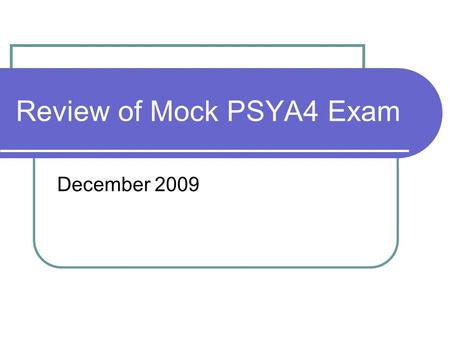 Review of Mock PSYA4 Exam December 2009. Review BATs Use strategies to improve my grade in the exam Use a mark scheme to assess performance.