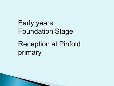 Early years Foundation Stage Reception at Pinfold primary.