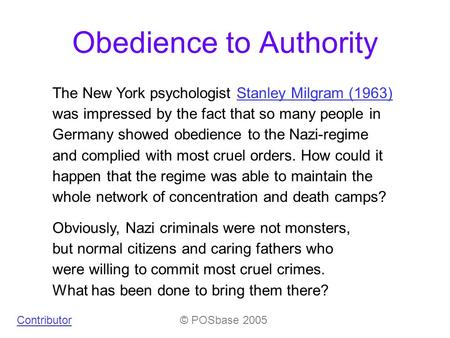 "the perils of obedience by stanley Milgram, stanley ""the perils of obedience"" writing and reading across the curriculum 4th custom ed for york college ed laurence behrens, and."
