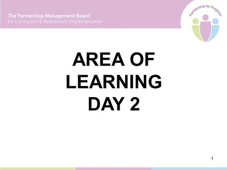 1 AREA OF LEARNING DAY 2. 2 Leading Learning 1November 2005 Leading Learning 2April/May 2006 Curriculum Leader Day 1September/October 2006 Curriculum.