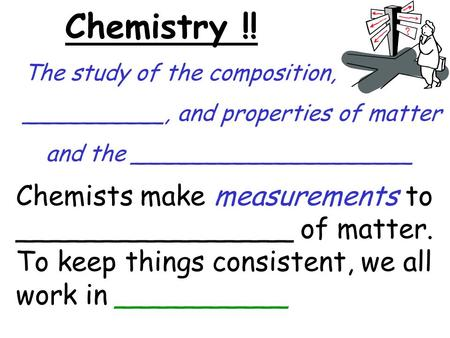 Chemistry !! The study of the composition, __________, and properties of matter and the ____________________ Chemists make measurements to ________________.