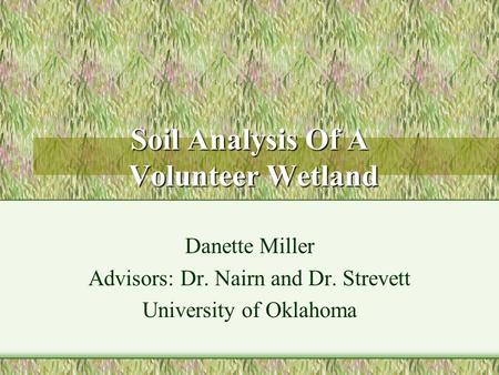 Soil Analysis Of A Volunteer Wetland Danette Miller Advisors: Dr. Nairn and Dr. Strevett University of Oklahoma.