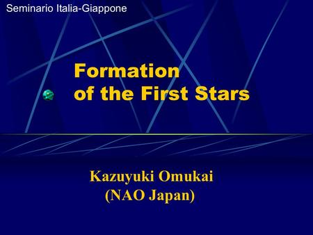 Formation of the First Stars