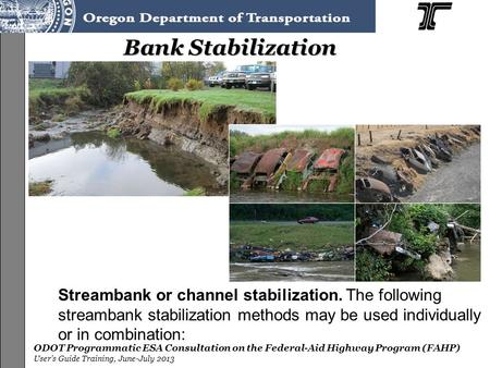 ODOT Programmatic ESA Consultation on the Federal-Aid Highway Program (FAHP) User's Guide Training, June-July 2013 Bank Stabilization Streambank or channel.