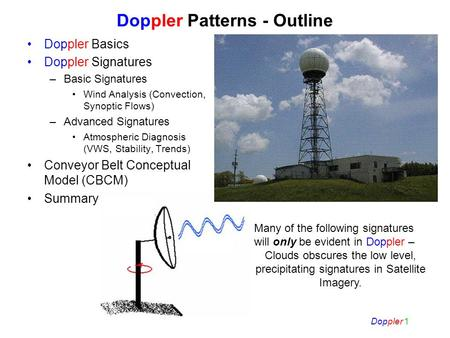 Doppler 1 Doppler Patterns - Outline Doppler Basics Doppler Signatures –Basic Signatures Wind Analysis (Convection, Synoptic Flows) –Advanced Signatures.