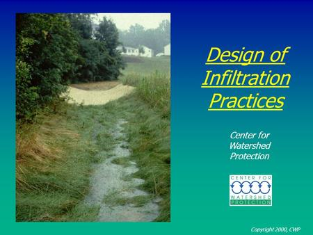 Design of Infiltration Practices