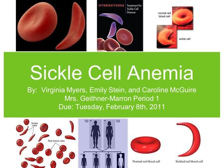 Sickle Cell Anemia By: Virginia Myers, Emily Stein, and Caroline McGuire Mrs. Geithner-Marron Period 1 Due: Tuesday, February 8th, 2011.