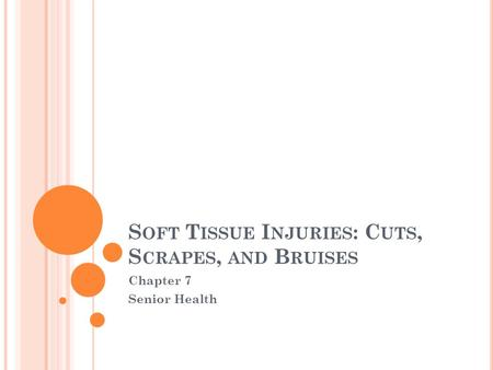 S OFT T ISSUE I NJURIES : C UTS, S CRAPES, AND B RUISES Chapter 7 Senior Health.