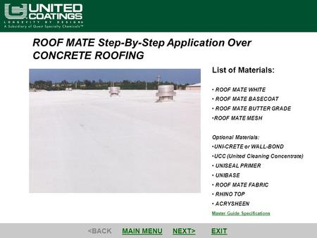 ROOF MATE Step-By-Step Application Over CONCRETE ROOFING