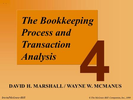 4-1 © The McGraw-Hill Companies, Inc., 1999 Irwin/McGraw-Hill The Bookkeeping Process and Transaction Analysis DAVID H. MARSHALL / WAYNE W. MCMANUS 4.