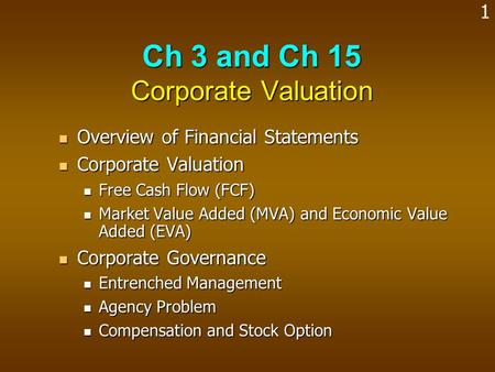 Ch 3 and Ch 15 Corporate Valuation