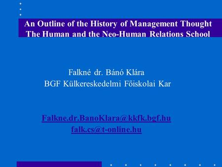 History of management thought elton