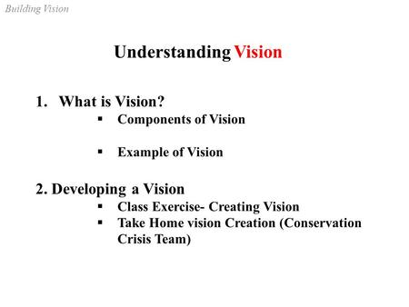 Building Vision Understanding Vision 1.What is Vision?  Components of Vision  Example of Vision 2. Developing a Vision  Class Exercise- Creating Vision.