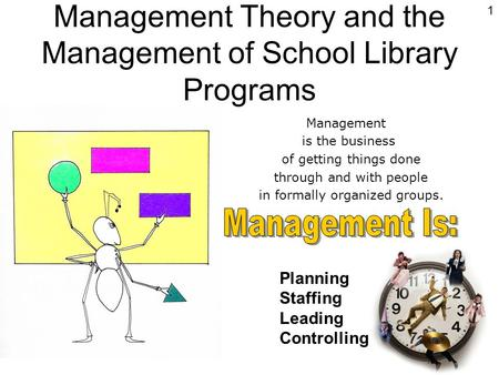 Management Theory and the Management of School Library Programs 1 Management is the business of getting things done through and with people in formally.