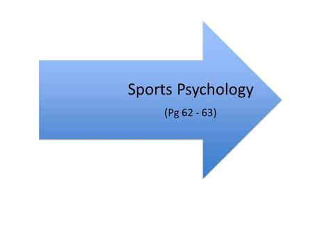 Sports Psychology (Pg 62 - 63). An understanding of sports psychology can help me improve my netball performance.