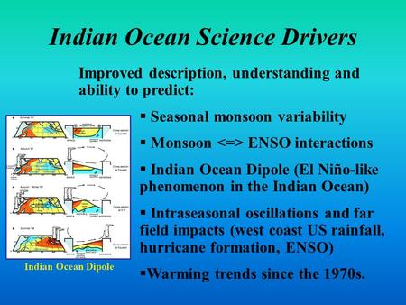 Indian Ocean Science Drivers Improved description, understanding and ability to predict:  Seasonal monsoon variability  Monsoon ENSO interactions  Indian.