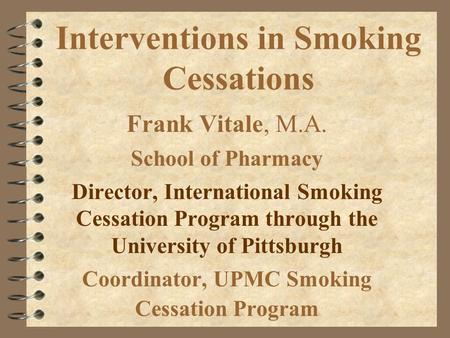 Interventions in Smoking Cessations