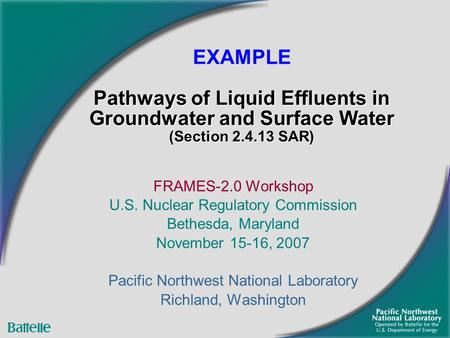 FRAMES-2.0 Workshop U.S. Nuclear Regulatory Commission