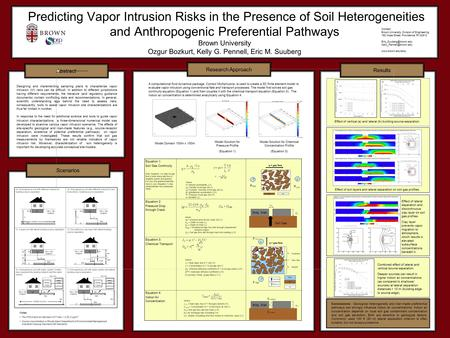 Predicting Vapor Intrusion Risks in the Presence of Soil Heterogeneities and Anthropogenic Preferential Pathways Brown University Ozgur Bozkurt, Kelly.
