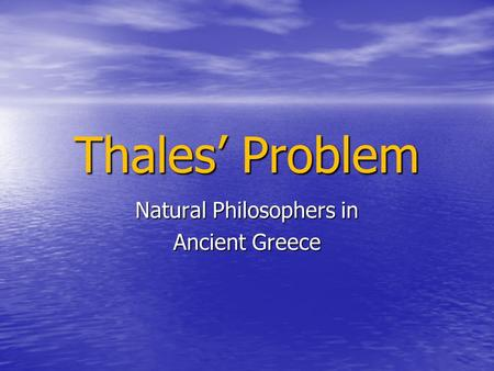 Natural Philosophers in Ancient Greece