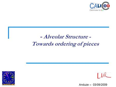 Anduze – 03/09/2009 - Alveolar Structure - Towards ordering of pieces.