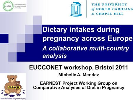 EUCCONET workshop, Bristol 2011 Michelle A. Mendez EARNEST Project Working Group on Comparative Analyses of Diet in Pregnancy Dietary intakes during pregnancy.