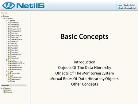 Basic Concepts Introduction Objects Of The Data Hierarchy Objects Of The Monitoring System Mutual Roles Of Data Hierarchy Objects Other Concepts.