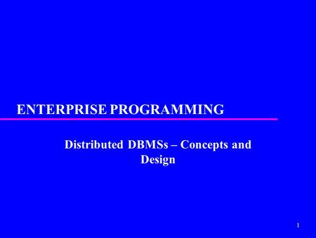 ENTERPRISE PROGRAMMING
