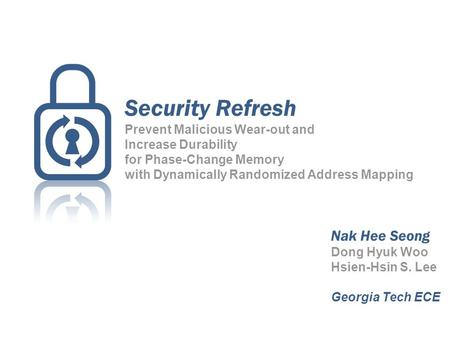 Security Refresh Prevent Malicious Wear-out and Increase Durability for Phase-Change Memory with Dynamically Randomized Address Mapping Nak Hee Seong Dong.