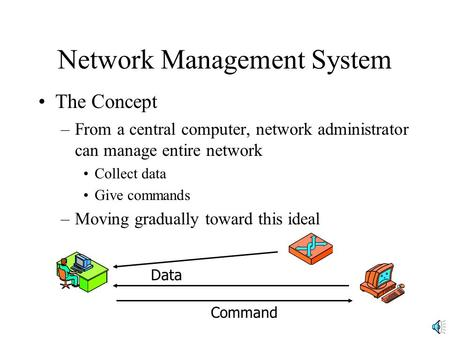 Network Management System The Concept –From a central computer, network administrator can manage entire network Collect data Give commands –Moving gradually.