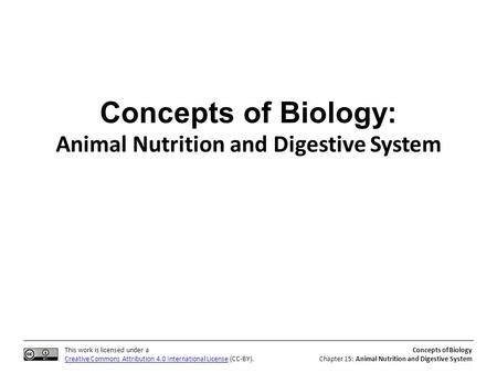 This work is licensed under a Creative Commons Attribution 4.0 International License (CC-BY). Concepts of Biology Chapter 15: Animal Nutrition and Digestive.