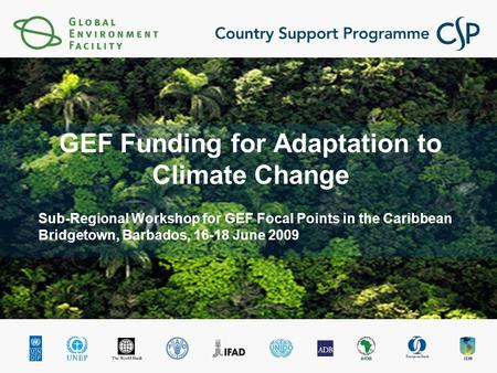 Sub-Regional Workshop for GEF Focal Points in the Caribbean Bridgetown, Barbados, 16-18 June 2009 GEF Funding for Adaptation to Climate Change.