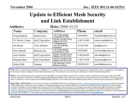 Doc.: IEEE 802.11-06/1625r1 Submission November 2006 Braskich, et al Slide 1 Update to Efficient Mesh Security and Link Establishment Notice: This document.