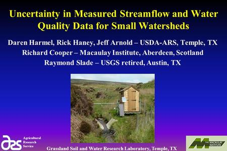 Agricultural Research Service Grassland Soil and Water Research Laboratory, Temple, TX Uncertainty in Measured Streamflow and Water Quality Data for Small.