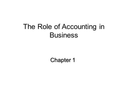 The Role of Accounting in Business Chapter 1. Types of Businesses Service Business Merchandising Business Manufacturing Business.
