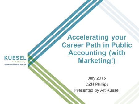 Accelerating your Career Path in Public Accounting (with Marketing!) July 2015 DZH Phillips Presented by Art Kuesel.