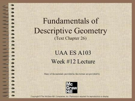 Fundamentals of Descriptive Geometry (Text Chapter 26)