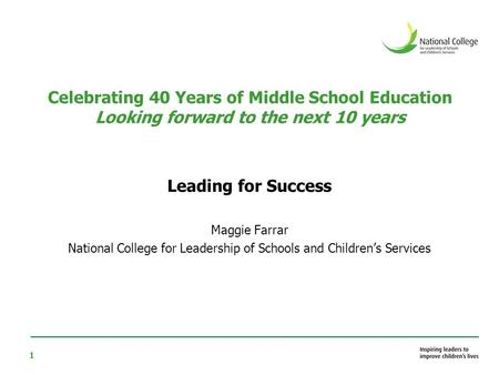 1 Celebrating 40 Years of Middle School Education Looking forward to the next 10 years Leading for Success Maggie Farrar National College for Leadership.