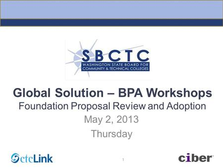 Global Solution – BPA Workshops Foundation Proposal Review and Adoption May 2, 2013 Thursday 1.
