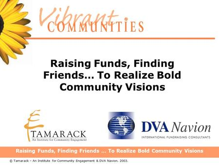 Raising Funds, Finding Friends … To Realize Bold Community Visions © Tamarack – An Institute for Community Engagement & DVA Navion. 2003.