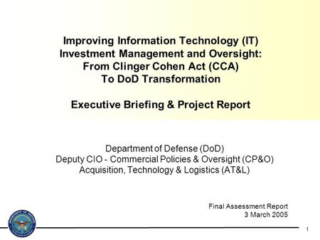 Improving Information Technology (IT) Investment Management and Oversight: From Clinger Cohen Act (CCA) To DoD Transformation Executive Briefing.