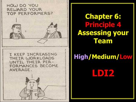 Chapter 6: Principle 4 Assessing your Team High/Medium/Low LDI2