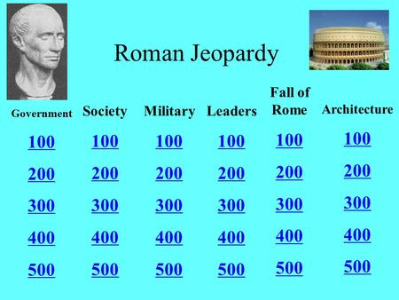 Roman Jeopardy Government 100 200 300 400 500 Society 100 200 300 400 500 Military 100 200 300 400 500 Leaders 100 200 300 400 500 Fall of Rome 100 200.