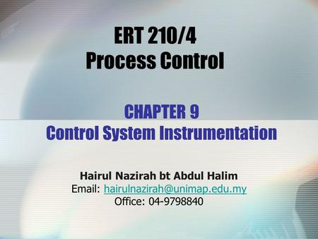 CHAPTER 9 Control System Instrumentation