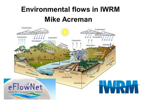Environmental flows in IWRM Mike Acreman. IWRM goals Economically efficient water use Assessments of supplies, sound allocation, efficient technologies.