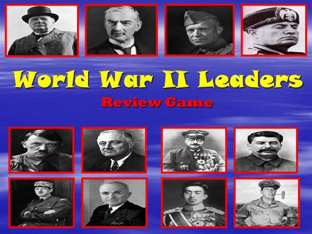 "World War II Leaders Review Game. The SNAKE GAME:   Have students take out a piece of paper and write on the top, ""DO NOT MOVE THIS PAPER""   Put aside."