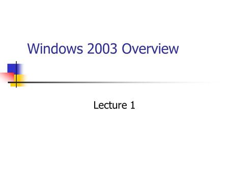 Windows 2003 Overview Lecture 1. Windows Networking Evolution Windows for Workgroups – peer-to-peer networking built into the OS Windows NT – separate.