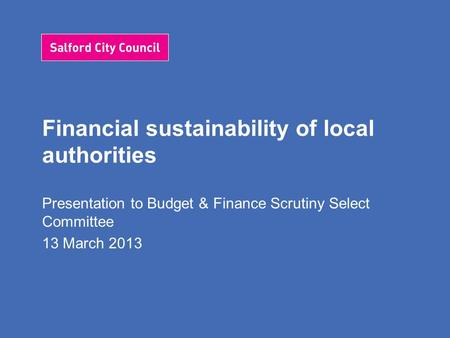 Financial sustainability of local authorities Presentation to Budget & Finance Scrutiny Select Committee 13 March 2013.